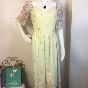 VTG 60s Yellow Flower Power Princess Maxi Dress
